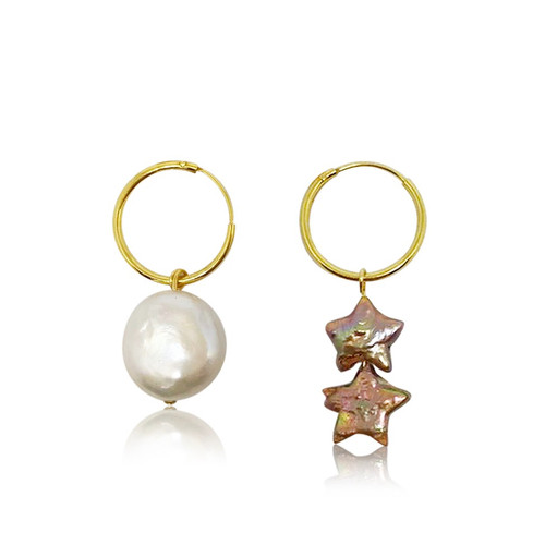 Sun and Stars Mismatched Pearl Hoop Earrings
