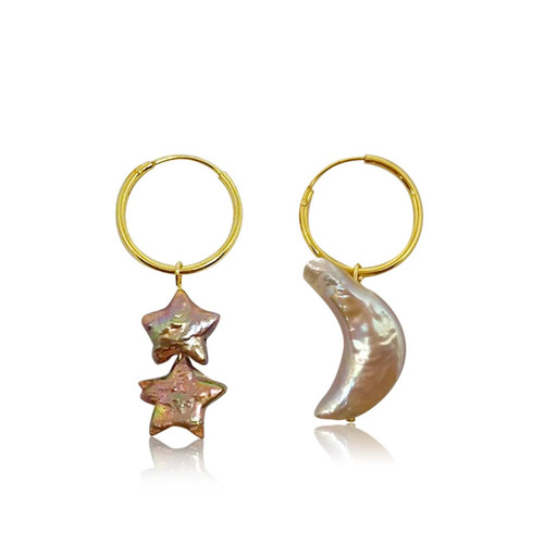 Stars and Moon Hoop Drop Earrings, Gold Vermeil