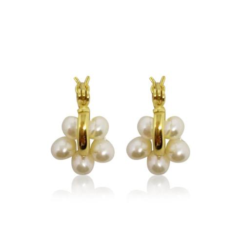 Petite White Pearl Flower Hoop Earrings