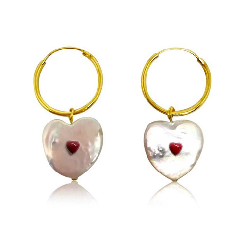 White Heart Shaped Pearl Hoop Earrings with Red Enamel Hearts