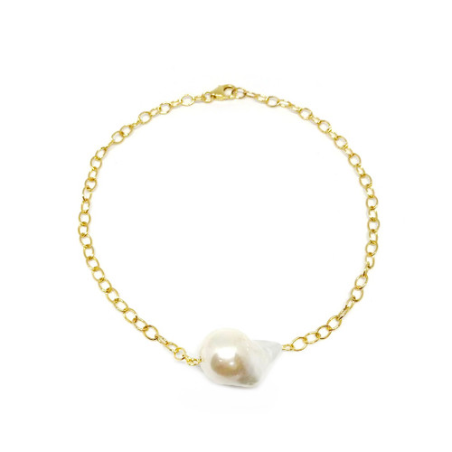 White Baroque Pearl Chain Bracelet, gold filled