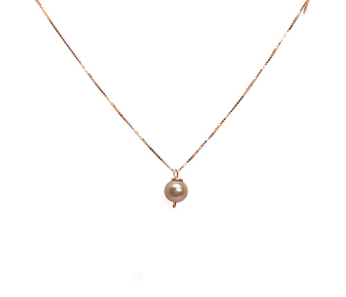 Girls Pink Pearl Pendant Necklace, Rose Gold