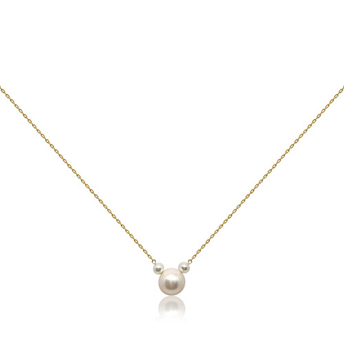 Girls Minnie Mouse White Pearl Pendant Necklace