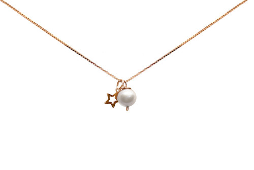 Girls White Pearl and Star Pendant Necklace, Rose Gold