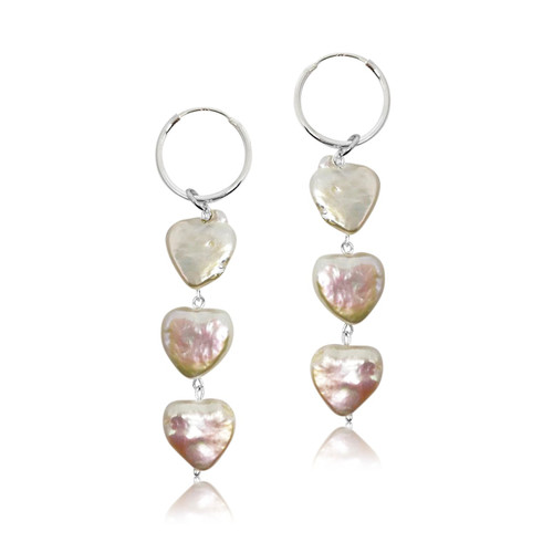 Triple Heart Pearls Hoop Drop Earrings, Sterling Silver
