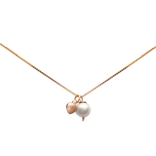 girls white pearl and rose gold heart pendant necklace