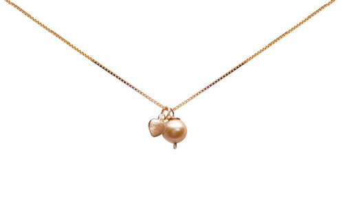 Girls Pink Pearl and Rose Gold Heart Pendant Necklace