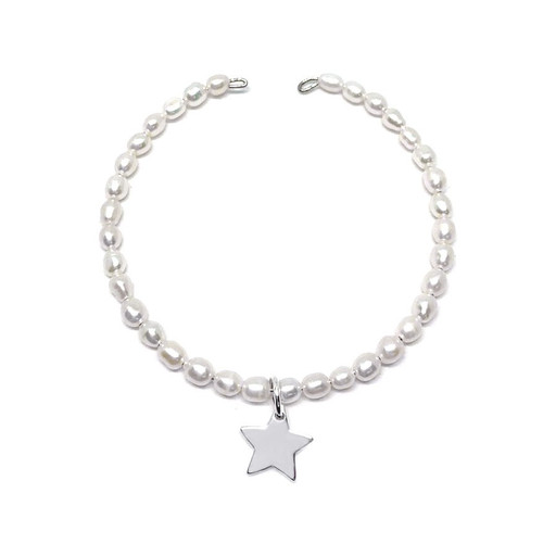 girls white pearl and sterling silver star bangle