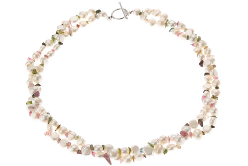 Double Strand White Baroque Pearl and Multicolour Tourmaline Necklace