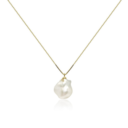White Baroque Pearl Pendant Decorated with Zirconia, Yellow Gold