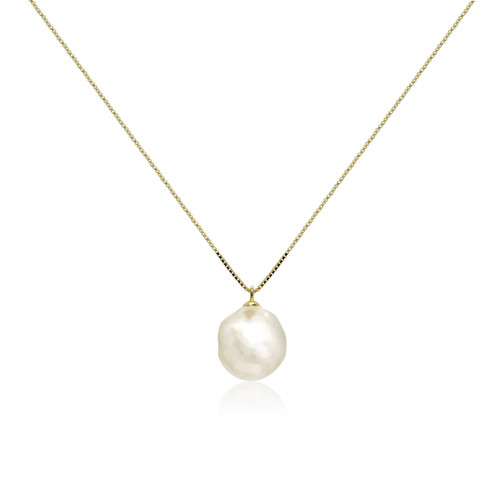 White Baroque Pearl Pendant, Yellow Gold