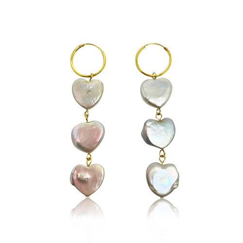 Triple White Heart Pearls Hoop Drop Earrings, Yellow Gold
