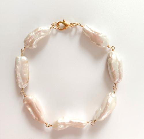 White Stick Pearl Bracelet, Yellow Gold