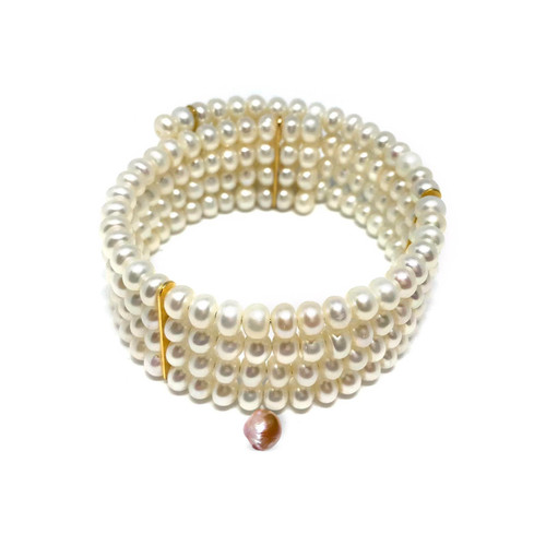 Four Row White Pearl Cuff with Pink Baroque Pearl Charm