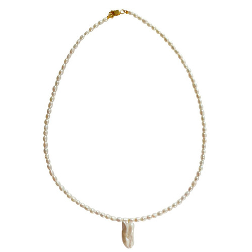 White Rice Pearl Necklace with Stick Pearl Pendant