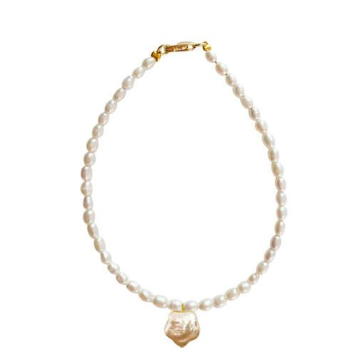 White Rice Pearl Bracelet with Pink Flower Pearl Charm
