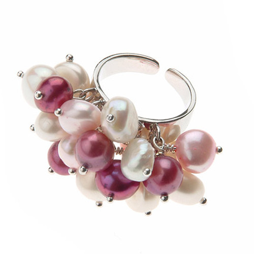 Multicolour Baroque Pearl Adjustable Ring, Pink