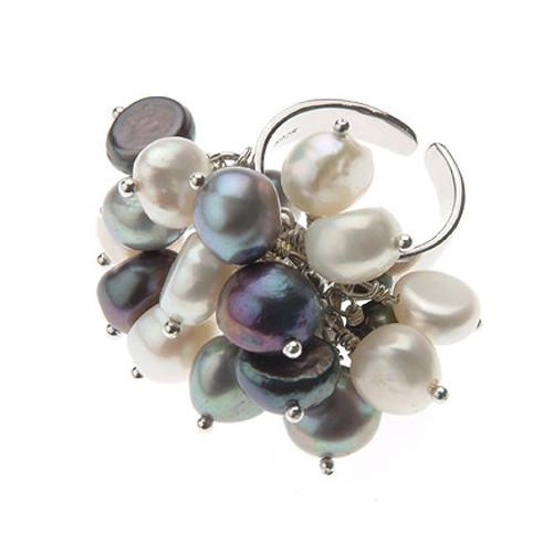 Multicolour Baroque Pearl Sterling Silver Adjustable Ring, Grey