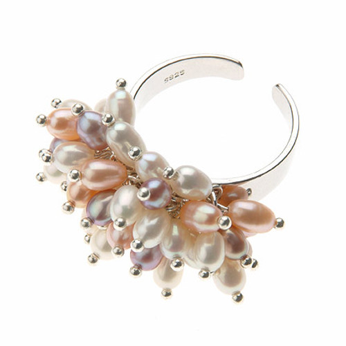 multicolour rice pearl dress ring, silver adjustable