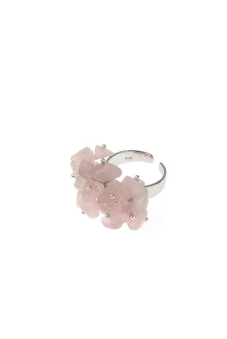 Rose Quartz Cluster Sterling Silver Ring