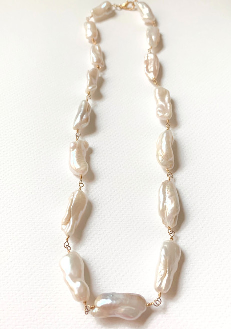 White Baroque Stick Pearl Necklace, Yellow Gold