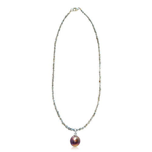 Diamond Necklace and Lustrous Rainbow Pearl Pendant