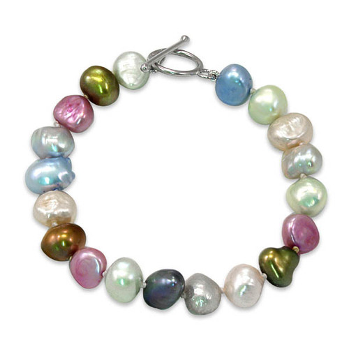Multicolour Baroque Pearl Bracelet, Sterling Silver