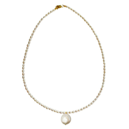 White Rice Pearl Necklace with Coin Pearl Pendant