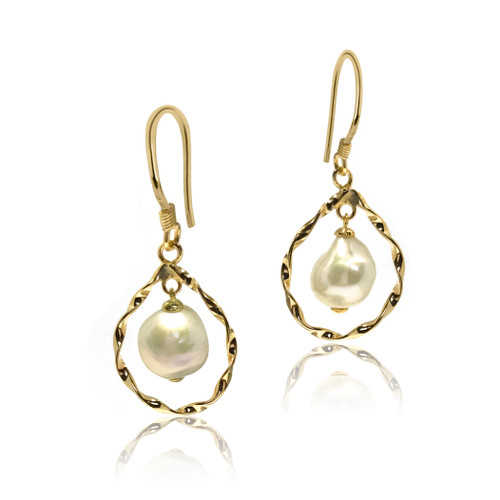 White Pearl Textured Hoop Drop Earrings, Yellow Gold
