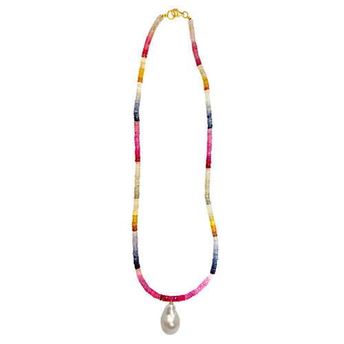 Rainbow Sapphire Necklace with White Baroque Pearl Pendant