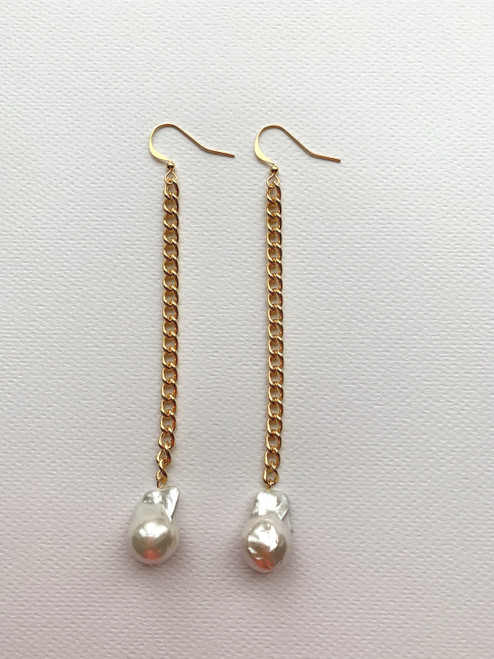 White Baroque Pearl on Gold Chain Drop Earrings