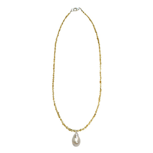 Yellow Diamond Necklace and Lustrous White Baroque Pearl Pendant