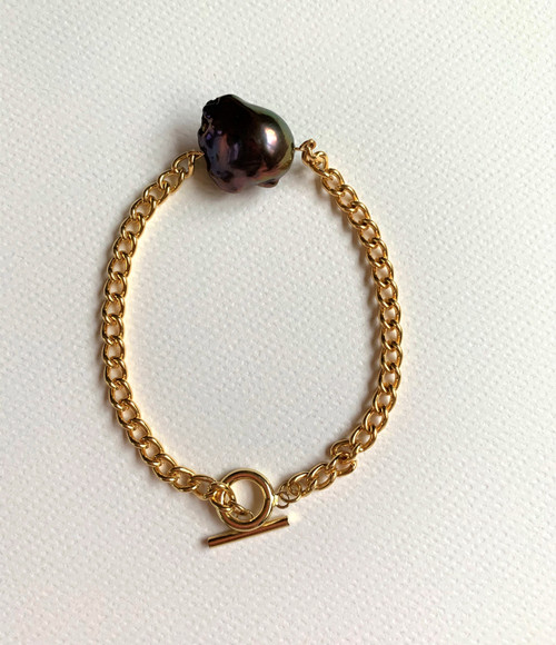 Peacock Baroque Pearl Gold Chain Bracelet