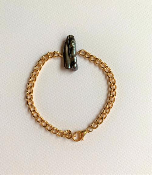 Peacock Biwa Stick Pearl Gold Chain Bracelet