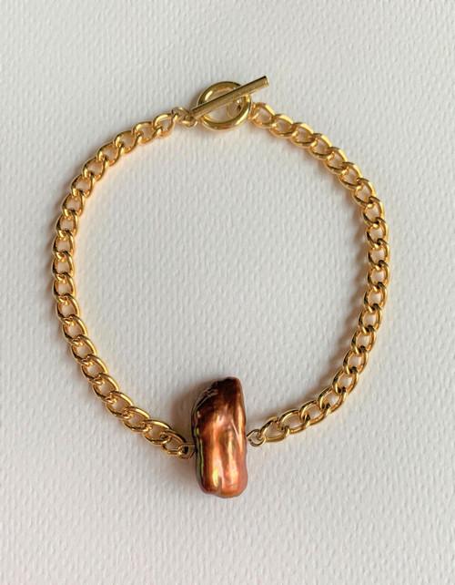 Brown Biwa Pearl Gold Chain Bracelet (Unisex)
