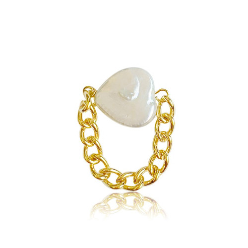 Heart Pearl Signet Gold Chain Ring