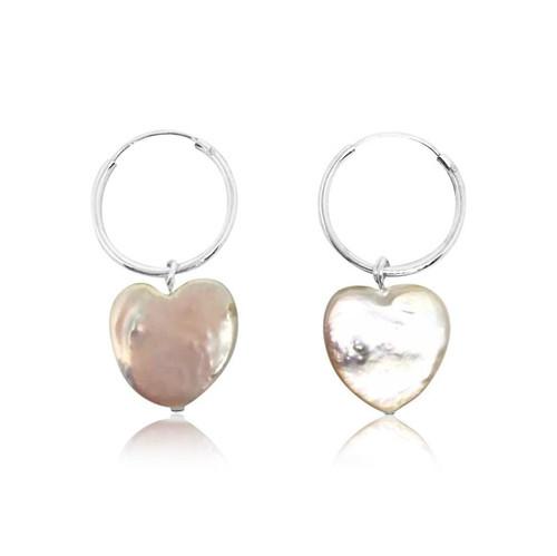 Heart Shape Pearl Sterling Silver Hoop Earrings