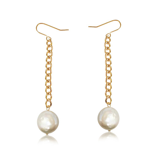 White Coin Pearl Gold Chain Drop Earrings
