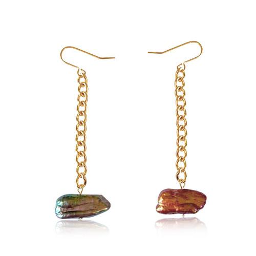 Multi-Coloured Biwa Stick Pearl Gold Chain Drop Earrings
