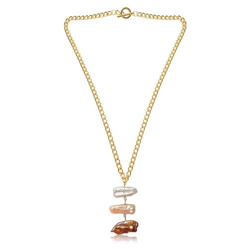 Triple Multicolour Biwa Stick Pearl Gold Chain Necklace
