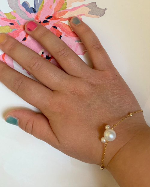 Girls Minnie Mouse White Pearl Bracelet