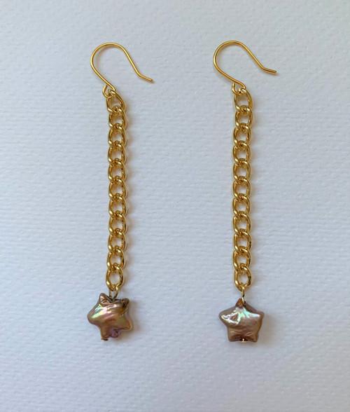 Star Pearls Gold Chain Drop Earrings