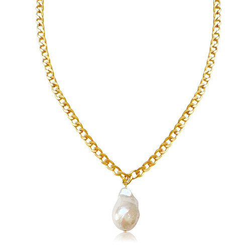 White Baroque Pearl on Gold Curb Chain Choker