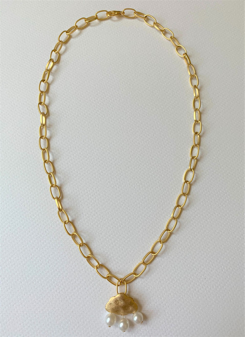 pearl on cloud pendant gold chain necklace