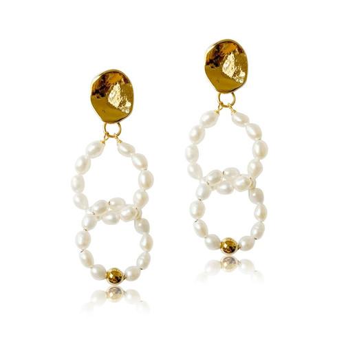 double white pearl hoops drop earrings