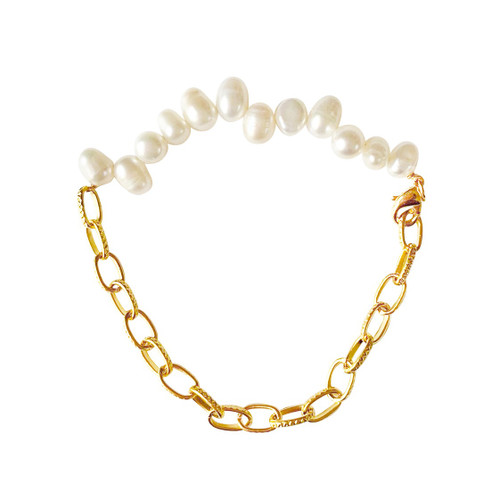 Oval Pearls and Oval Gold Chains Bracelet