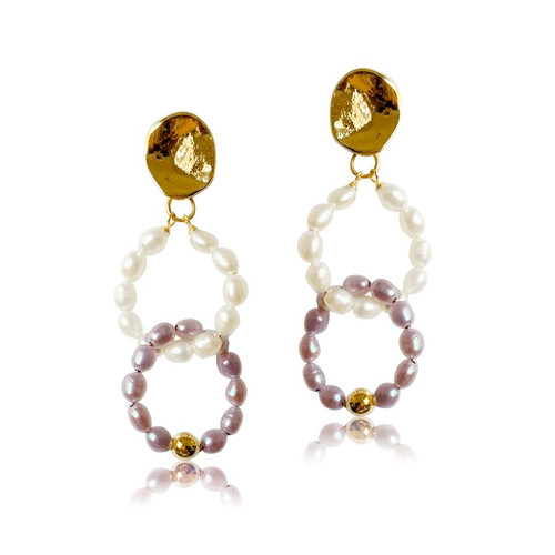 Double Pearl Hoops Drop Earrings