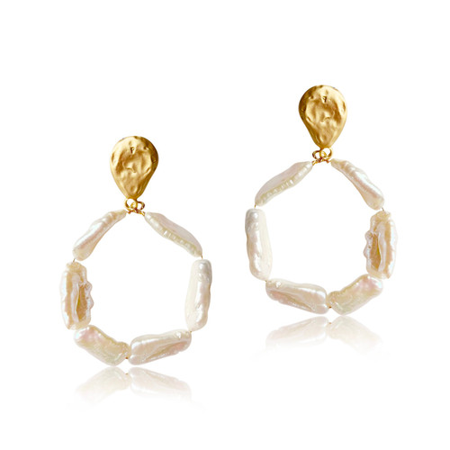 Stick Baroque Pearl Hoops Earrings