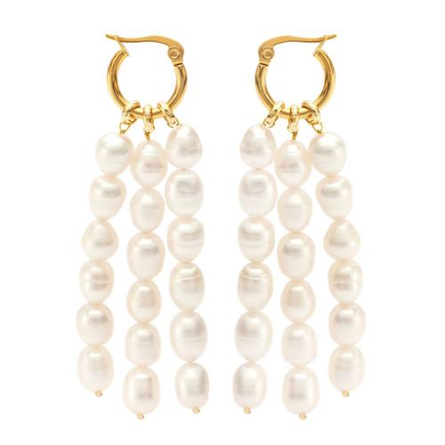 White Baroque Pearls Long Drop Earrings