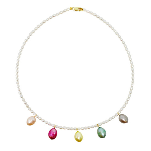 White Oval Pearl Choker with Rainbow Pearl Pendants